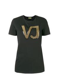 Женская черная футболка с круглым вырезом с принтом от Versace Jeans