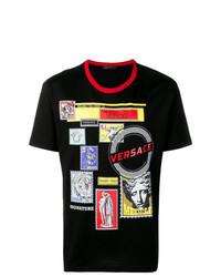 Мужская черная футболка с круглым вырезом с принтом от Versace