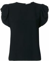 Черная футболка с круглым вырезом с рюшами