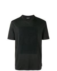 Мужская черная футболка с круглым вырезом с украшением от Emporio Armani
