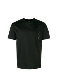 Мужская черная футболка с круглым вырезом с украшением от Les Hommes