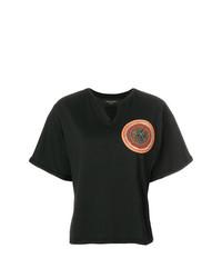Женская черная футболка с круглым вырезом с украшением от Mr & Mrs Italy