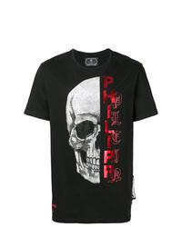 Мужская черная футболка с круглым вырезом с украшением от Philipp Plein
