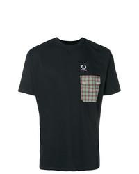 Мужская черная футболка с круглым вырезом с украшением от Raf Simons X Fred Perry