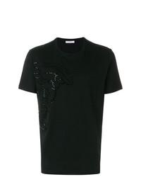 Мужская черная футболка с круглым вырезом с украшением от Versace Collection