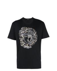 Мужская черная футболка с круглым вырезом с украшением от Versace
