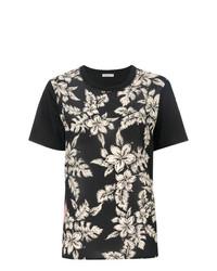 Женская черная футболка с круглым вырезом с цветочным принтом от Moncler