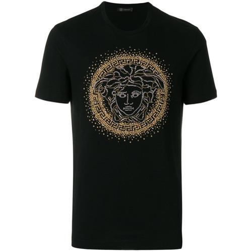 d8eeae1d6b59 ... Мужская черная футболка с круглым вырезом с шипами от Versace ...