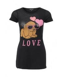 Женская черная футболка с круглым вырезом от LuAnn
