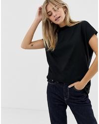 Женская черная футболка с круглым вырезом от Weekday