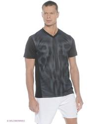 Мужская черная футболка с v-образным вырезом от adidas