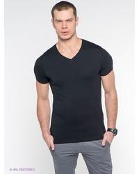 Мужская черная футболка с v-образным вырезом от Oodji