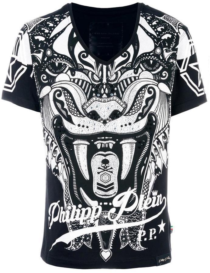 fc0555231b6 ... Мужская черная футболка с v-образным вырезом от Philipp Plein
