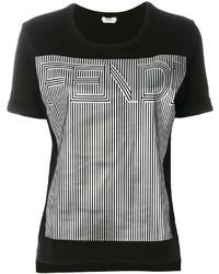 Женская черная футболка от Fendi