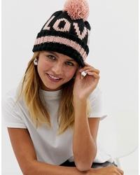 Женская черная шапка с принтом от New Look