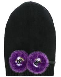Детская черная шапка для девочке от Fendi