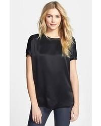 Черная шелковая блуза с коротким рукавом
