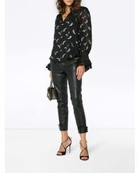 """Черная шелковая блузка с длинным рукавом с """"огурцами"""" от Chloé"""