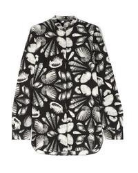 Черная шелковая блузка с длинным рукавом с принтом от Alexander McQueen