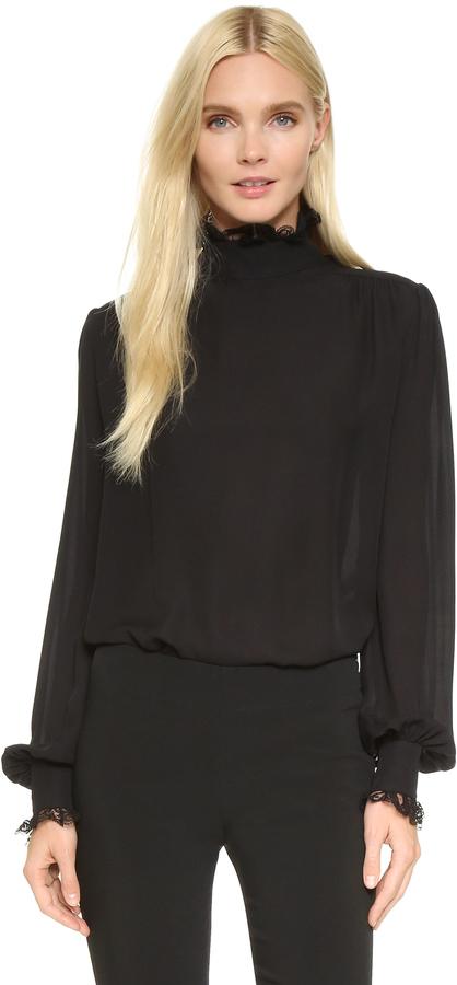 7a6e7e74777 ... Черная шелковая блузка с длинным рукавом от Rodarte ...