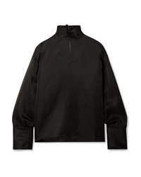 Черная шелковая блузка с длинным рукавом от The Row
