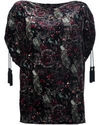 Черная шелковая блузка с принтом от Roberto Cavalli