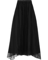 Черная шелковая длинная юбка со складками от Brunello Cucinelli
