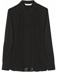 Черная шелковая классическая рубашка