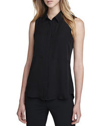 Черная шелковая рубашка без рукавов