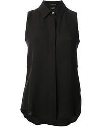 968c4a5cd1f Купить женскую черную шелковую рубашку без рукавов Theory - модные ...