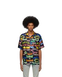 Мужская черная шелковая рубашка с коротким рукавом с принтом от Gucci