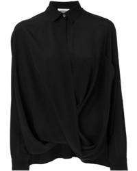 Женская черная шелковая рубашка от Moschino