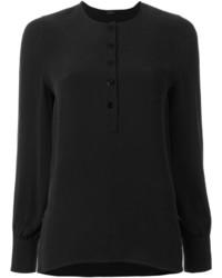 Женская черная шелковая футболка на пуговицах от Joseph