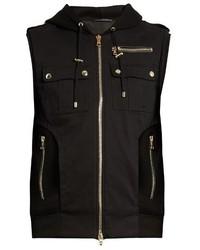 Черная шерстяная куртка без рукавов