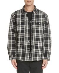 Черная шерстяная куртка-рубашка в шотландскую клетку