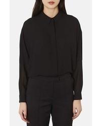 Черная шифоновая блуза на пуговицах