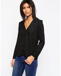 Черная шифоновая блуза на пуговицах от Asos
