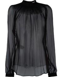 Черная шифоновая блузка с длинным рукавом