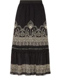 Черная шифоновая длинная юбка с цветочным принтом