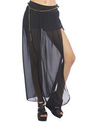 Черная шифоновая длинная юбка