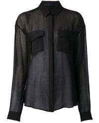 Женская черная шифоновая классическая рубашка