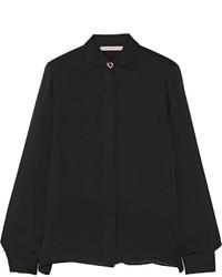 Женская черная шифоновая классическая рубашка от Christopher Kane