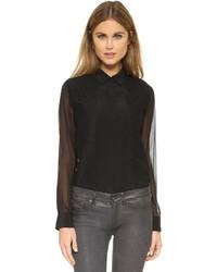 Женская черная шифоновая классическая рубашка от DKNY