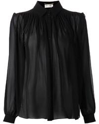 Женская черная шифоновая классическая рубашка от Saint Laurent