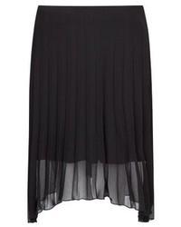 Черная шифоновая юбка-миди со складками