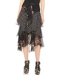 Черная шифоновая юбка-миди с цветочным принтом от Jason Wu
