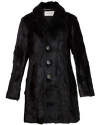 Женская черная шуба от Saint Laurent
