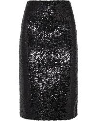 Черная юбка-карандаш с пайетками