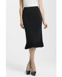 Черная юбка-карандаш с рюшами