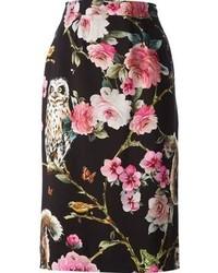 Черная юбка-карандаш с цветочным принтом